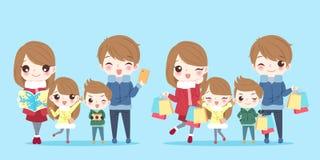 Cute cartoon family vector illustration