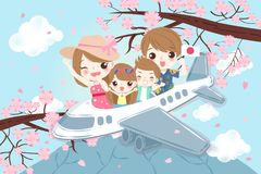 Cartoon family travel in japan royalty free illustration