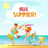 Cute cartoon family walking on beach in summer vacation. Stock Images
