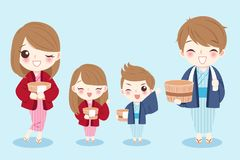 Cute cartoon family. Wear bathrobes on the blue background Royalty Free Stock Images