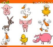 Cute cartoon farm animal characters set Stock Photo