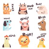 Cute Cartoon Farm Animal Making Sounds Set, Cat, Cow, Sheep, Dog, Pig, Horse, Hen, Lion, Chick Saying Vector