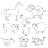 Cute cartoon farm animals and birds for coloring book. Outline vector with adjustable stroke. Black and white version Stock Image
