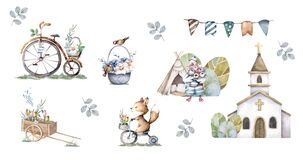 Cute cartoon farm animals. Hand drawn watercolor isolated set for greeting card, birthday and holiday design.