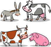 Cute cartoon farm animals set. Cartoon illustration of four cute farm animals set Royalty Free Stock Photography