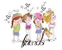 Cute cartoon fashion girls Stock Images