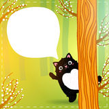 Cute cartoon fat black cat in the fairy forest Royalty Free Stock Photography