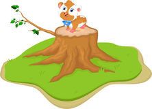 Cute cartoon fat hamster on tree stump Royalty Free Stock Images