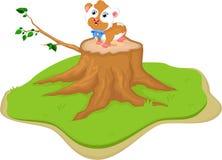 Cute cartoon fat hamster on tree stump. Illustration of cute cartoon fat hamster on tree stump Royalty Free Stock Images