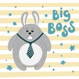 Cute cartoon fat hare on a striped background. Royalty Free Stock Photography