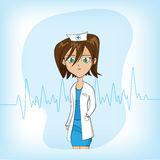 Cute Cartoon female doctor on blue background Stock Images