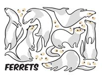 Cute cartoon ferrets set in outline. Vector illustration. Collection of ink cartoon weasels. Ideal for coloring print and book Royalty Free Stock Photo