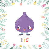 Cute cartoon fig illustration with flowers and lettering. Funny character in nice colors Royalty Free Stock Photo