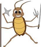Cute Cartoon Fighting Cockroach Stock Photography