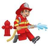 Cute cartoon of firefighter. Vector of cute cartoon of firefighter Royalty Free Stock Images