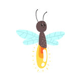 Cute cartoon firefly character vector Illustration. Isolated on a white background Royalty Free Stock Images