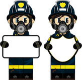 Cute Cartoon Fireman - Firefighter Royalty Free Stock Photo