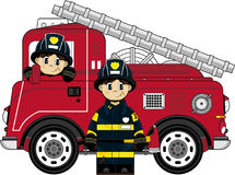 Cute Cartoon Fireman - Firefighter. An EPS file is also available, cartoon fireman illustration Royalty Free Stock Images