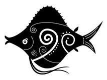 Cute cartoon fish black and white. Cartoon black and white fish silhouette Stock Photo