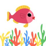 Cute cartoon fish Stock Image