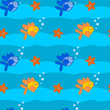 Cute cartoon fish colorful seamless pattern. Cute cartoon fish colorful underwater seamless pattern Royalty Free Stock Images