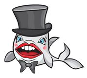 Cute cartoon fish with hat. Vector illustration of the Cute cartoon fish with hat Stock Photography