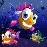 Cute cartoon fish. Illustration of a cartoon fishes under water Stock Images