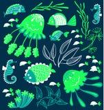 Cute cartoon fish, jellyfish and seahorses Royalty Free Stock Photo