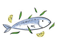 Cute cartoon fish and lemon Royalty Free Stock Image
