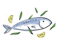 Cute cartoon fish and lemon. On white background stock illustration