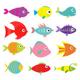 Cute cartoon fish set. Isolated. Baby kids collection. White background. Flat design. Vector illustration Stock Photo
