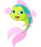 Cute cartoon fish. Smiling cute  isolated on white Royalty Free Stock Photo