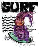 Cute cartoon fish. Surf vintage hand drawn text. sea animal watercolor illustration. children`s summer holidays background. Stock Photos