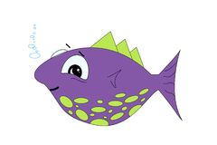 Cute cartoon fish vector illustration on a white background. T-shirt graphics for kids Stock Images