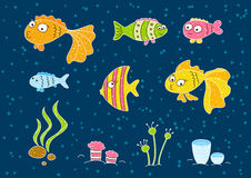 Cute cartoon fishes. On blue background Royalty Free Stock Photos
