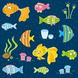 Cute cartoon fishes. On dark blue Vector Illustration