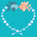 Cute cartoon fishes in love romantic illustration. Cute cartoon fishes in love romantic vector illustration Stock Photography