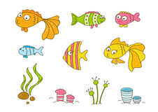 Cute cartoon fishes. On white Royalty Free Stock Image