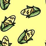 Cute cartoon flat style corn seamless pattern stock illustration