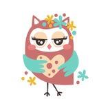Cute cartoon flirtatious owl bird colorful character vector Illustration Royalty Free Stock Photo