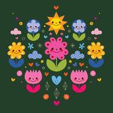 Cute cartoon flower characters stylized nature illustration Royalty Free Stock Photo