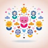 Cute cartoon flowers illustration Stock Photo