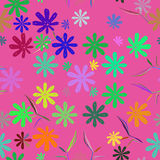 Cute cartoon with flowers nature seamless pattern. Royalty Free Stock Photo