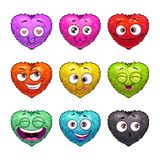 Cute cartoon fluffy hearts emoji. Coloful funny face stickers, vector icons on white background stock illustration