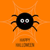 Cute cartoon fluffy spider on the web. Halloween card. Flat design. Royalty Free Stock Photos