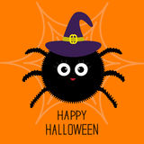 Cute cartoon fluffy spider on the web. Witch hat. Halloween card. Flat design. Stock Photography