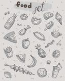 Cute cartoon food set on neutral background royalty free illustration