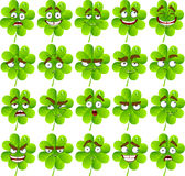 Cute cartoon four-leaf clover with many expression. Vector cute cartoon four-leaf clover with many expressions Stock Photography
