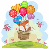 Cute Cartoon Fox with balloons. Cute Cartoon Fox in the box is flying on balloons royalty free illustration