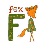 Cute Cartoon Fox in a dress with a rooster. And a flower wreath on the head. Letter of the alphabet F Stock Images